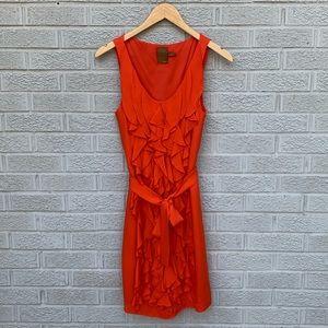 Ali Ro Silk Ruffle Front Orange Dress